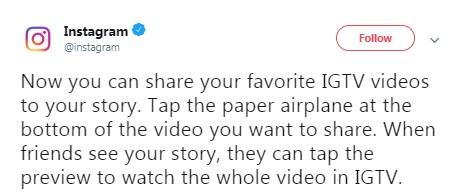 اشتراک گذاری ویدیوهای IGTV در استوریهای اینستاگرام
