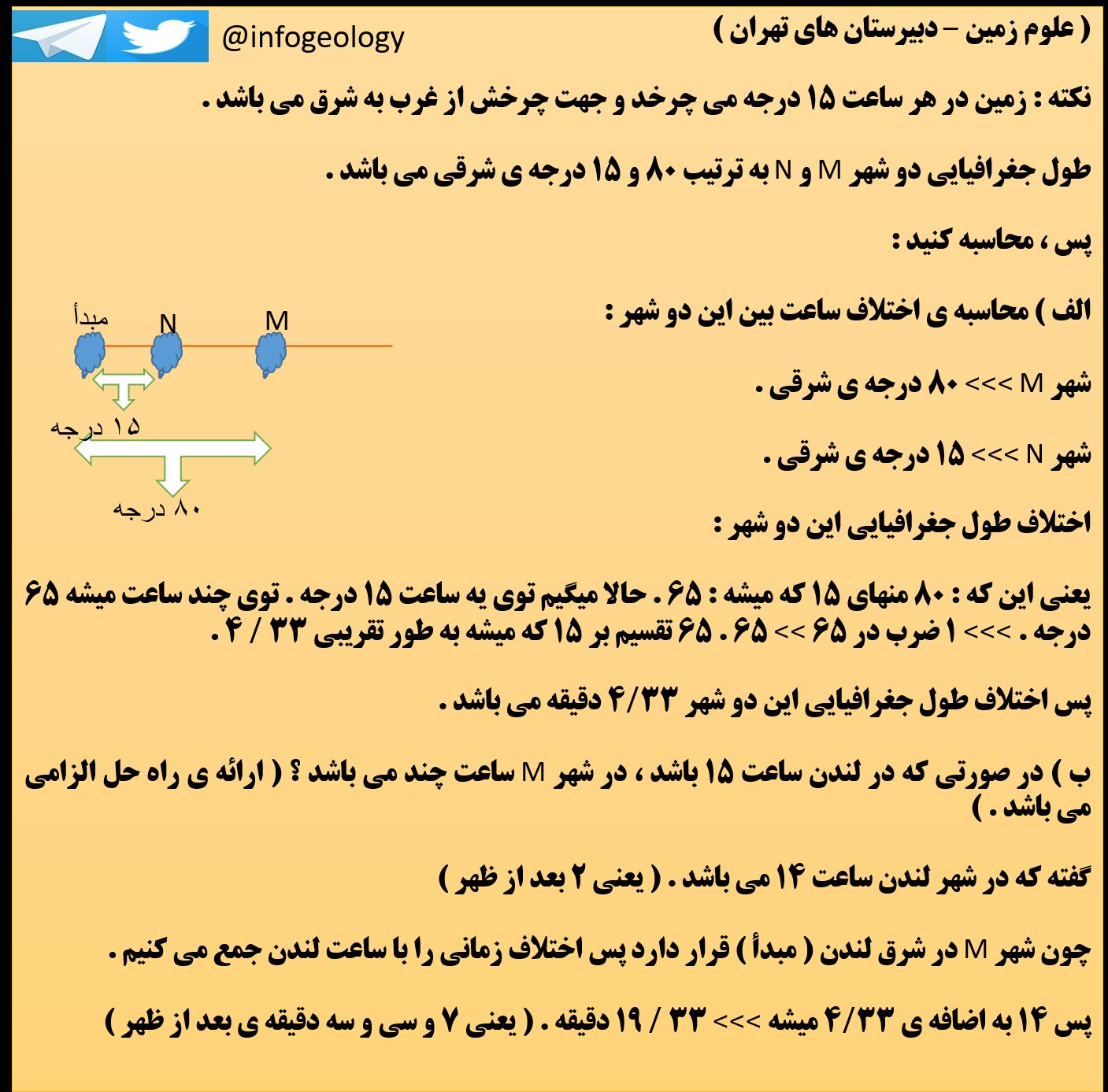 7 - علوم زمین - دبیرستان های تهران .