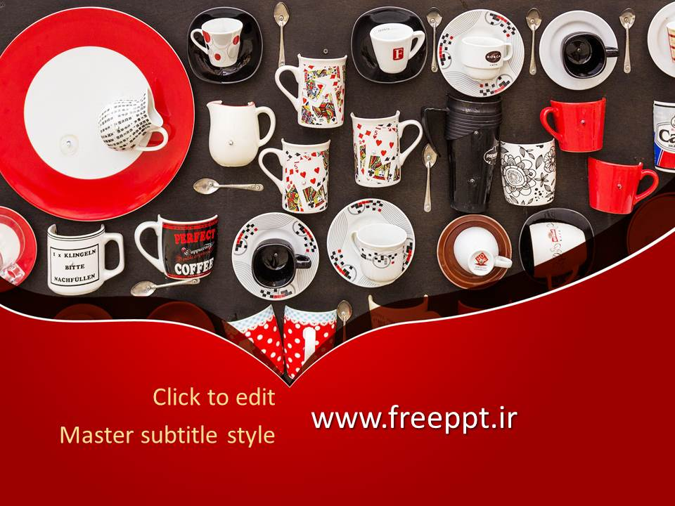 قالب پاورپوینت کلکسیون فنجان قهوه و چای