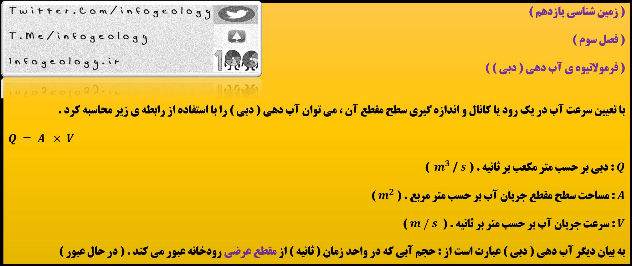 187 - فرمولاتیوه ی آب دهی ( دبی ) زمین شناسی یازدهم .