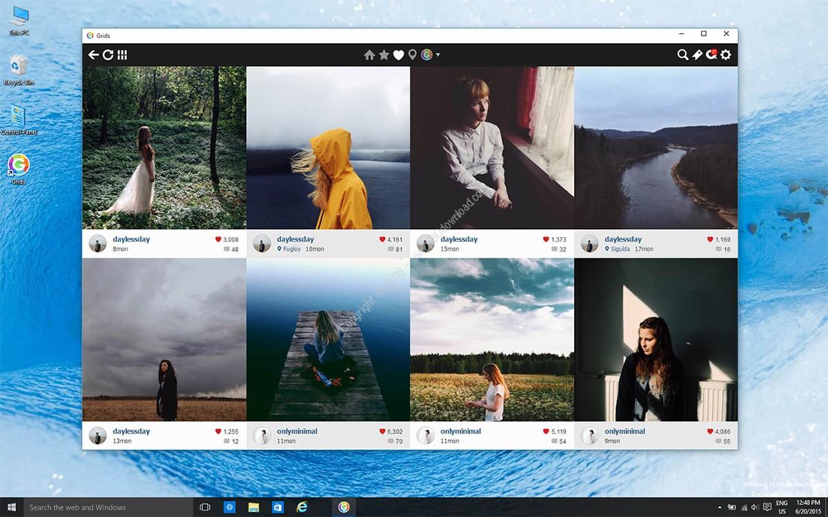 قابلیت های Grids for Instagram اینستاگرام برای ویندوز کامپیوتر :