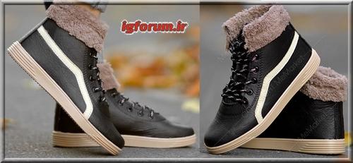 کفش زمستانه خز دار دخترانه رنگ مشکی 2019
