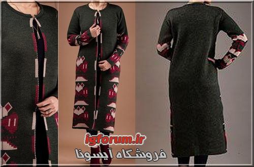 خرید مانتو زنانه بلند طرح سنتی شیک نخ آکریل 1397