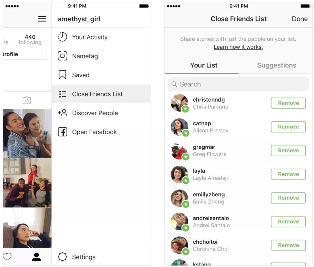 لیست دوستان نزدیک قابلیت جدید در بروزرسانی اینستاگرام