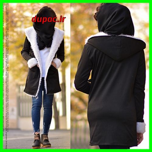 خرید پستی هودی دخترانه مشکی طرحدار فشن