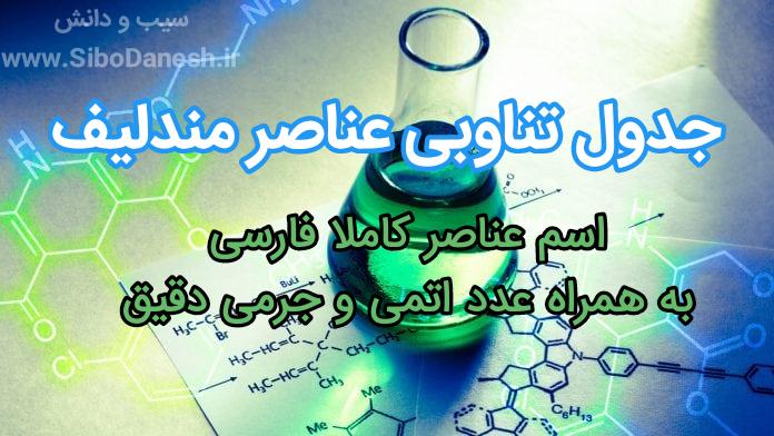 دانلود PDF جدول تناوبی عناصر فارسی مندلیف