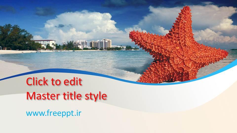 قالب پاورپوینت ستاره دریایی و منظره زیبا