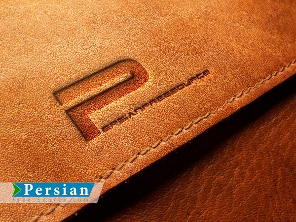 دانلود رایگان قالب لوگو روی چرم Embossed Leather Logo Mockup PSD