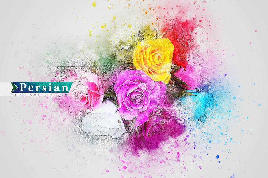 دانلود عکس گل های رز رنگی با افکت آبرنگ
