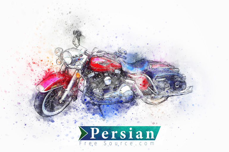 دانلود تصویر استوک نقاشی آبرنگ موتور سیکلت