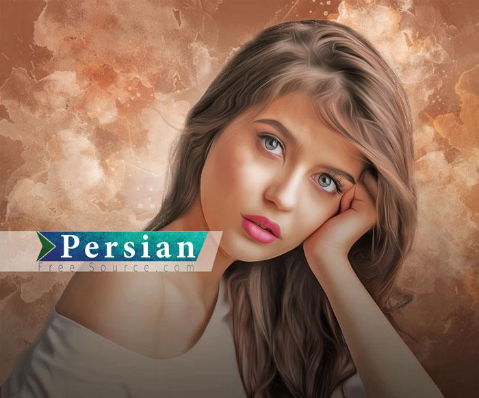 فایل با کیفیت نقاشی دختر تنها با استفاده از تکنیک Oil Painting