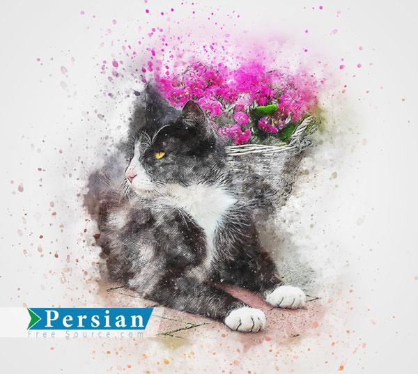 دانلود عکس باکیفیت نقاشی گربه با زمینه گل
