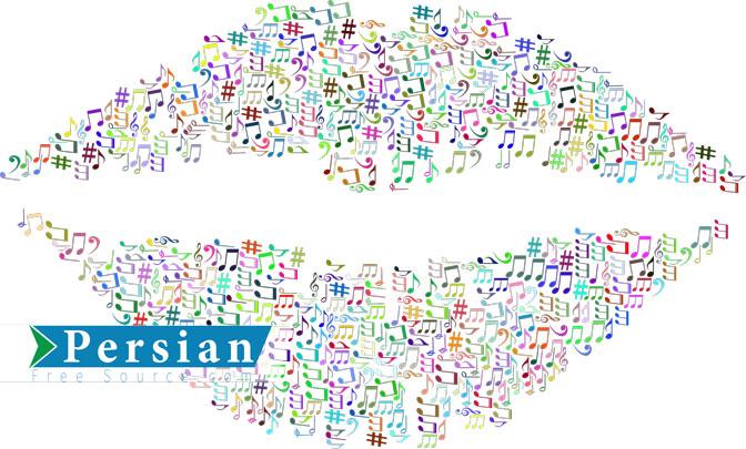دانلود طرح وکتور نت های موسیقی به شکل لب