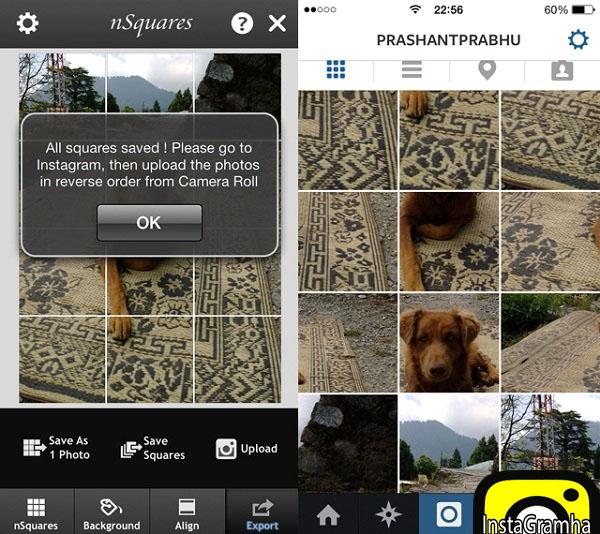 گذاشتن عکس بزرگ در اینستاگرام با nSquares در آیفون
