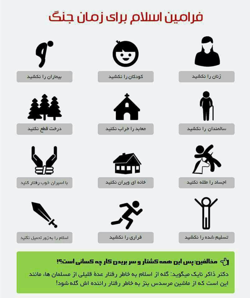 فرامین اسلام برای زمان جنگ + عکس