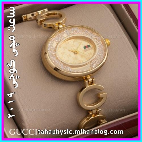 خرید ساعت مچی زنانه Gucci طلایی فلزی بند حروف انگلیسی