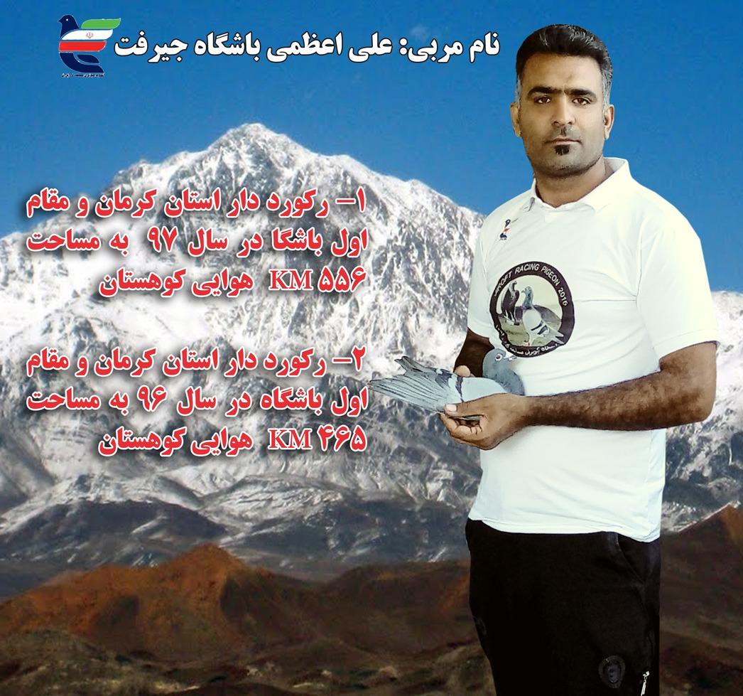 مربی علی اعظمی عضو باشگاه کبوتران مسابقه ای جیرفت رکوردار بروزه  دو سال پیاپی استان کرمان