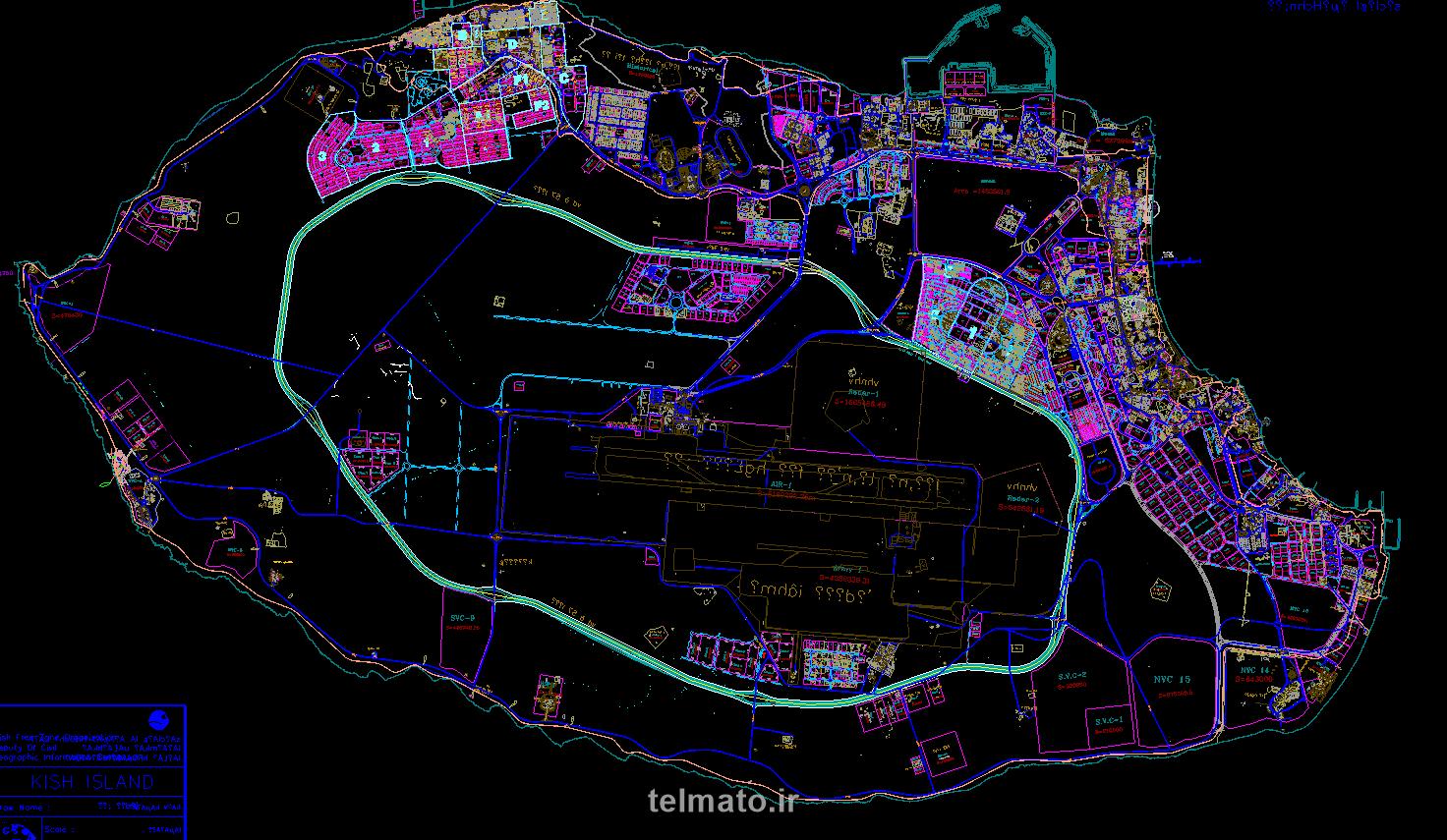 دانلود فایل نقشه اتوکد جزیره کیش با فرمت (kish island autocad file .(DWG